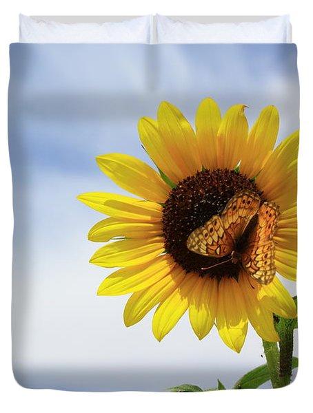 Butterfly On A Sunflower Duvet Cover