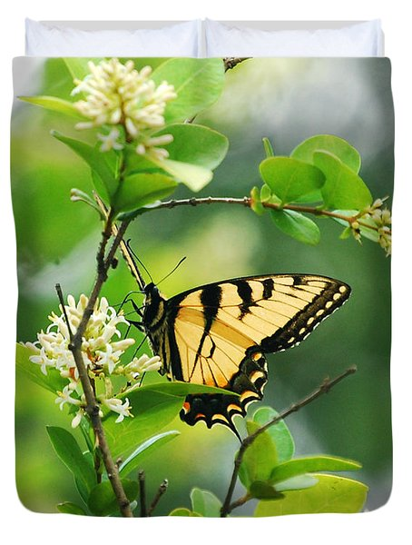 Duvet Cover featuring the photograph Butterfly Tiger Swallow by Peggy Franz