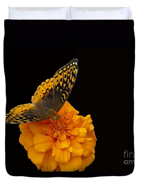 Butterfly Visitor Duvet Cover by Cindy Manero