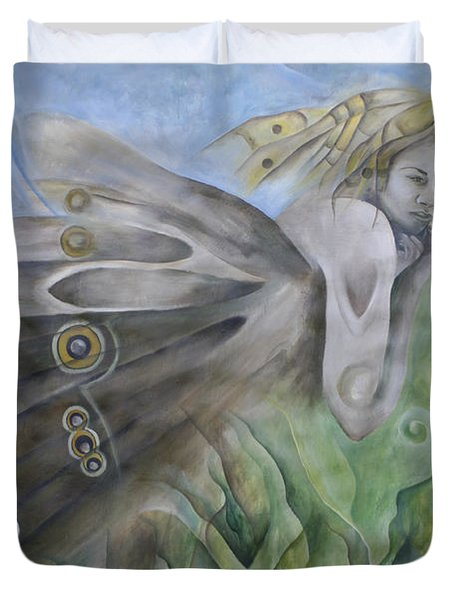 Butterfly Woman Costa Rica Duvet Cover by Bob Christopher