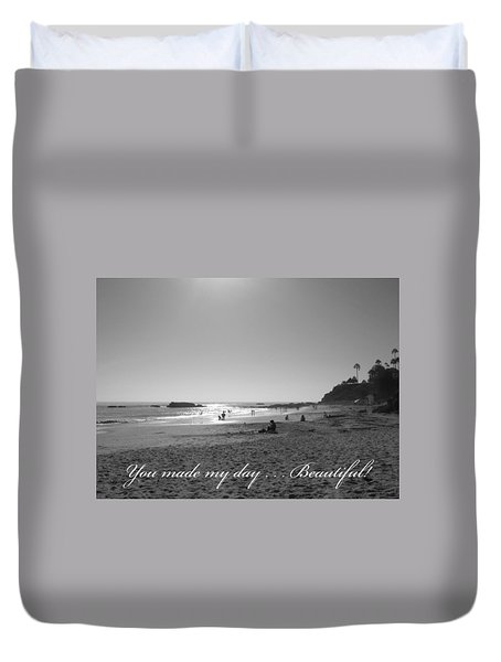Bw Sunset Reflection At Laguna Beach With Inscription Duvet Cover by Connie Fox