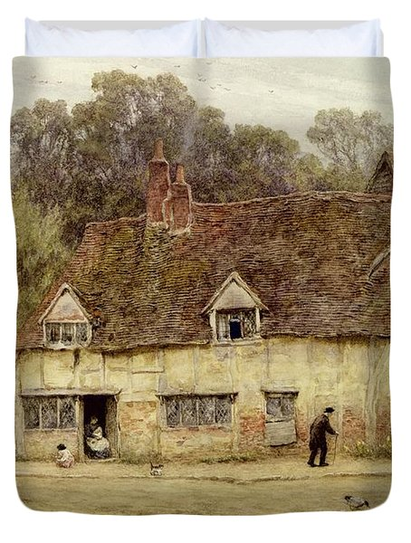 By The Old Cottage Duvet Cover by Helen Allingham
