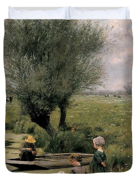By The Riverside Duvet Cover by Emile Claus