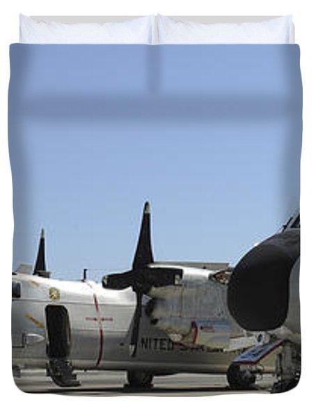 C-2a Greyhound Aircraft Start Duvet Cover by Stocktrek Images