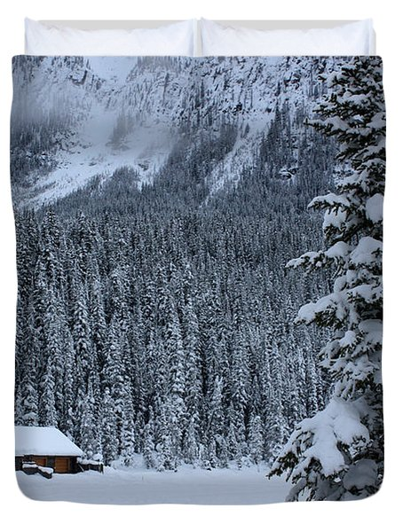 Duvet Cover featuring the photograph Cabin In The Snow by Alyce Taylor