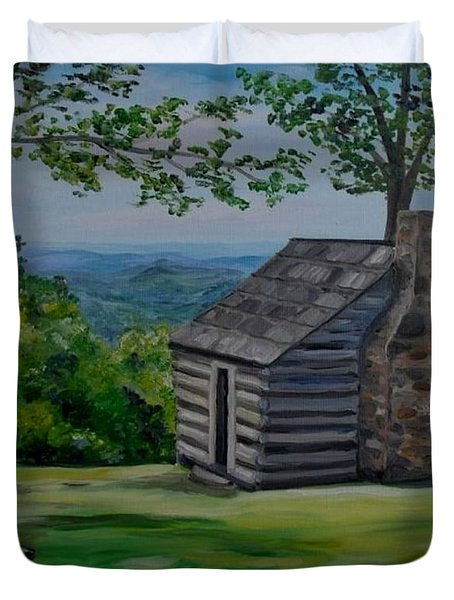 Duvet Cover featuring the painting Cabin On The Blue Ridge Parkway In Va by Julie Brugh Riffey