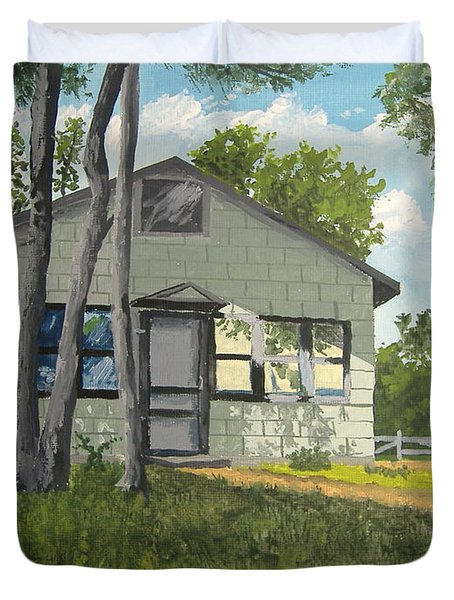 Cabin Up North Duvet Cover by Norm Starks