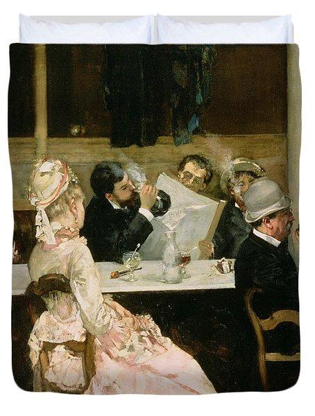 Cafe Scene In Paris Duvet Cover