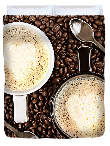 Duvet Cover featuring the photograph Caffe Latte For Two by Gert Lavsen