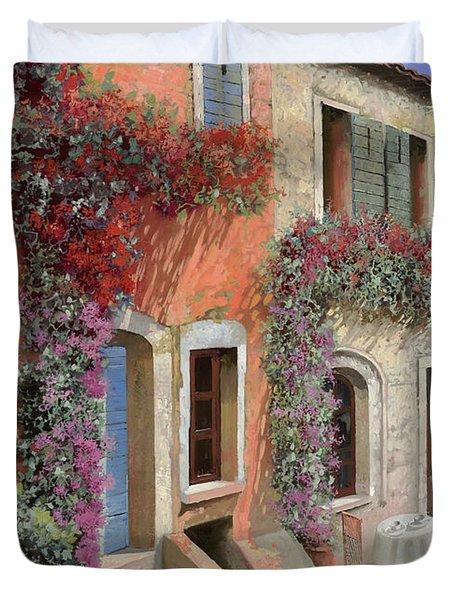 Caffe Sulla Discesa Duvet Cover by Guido Borelli