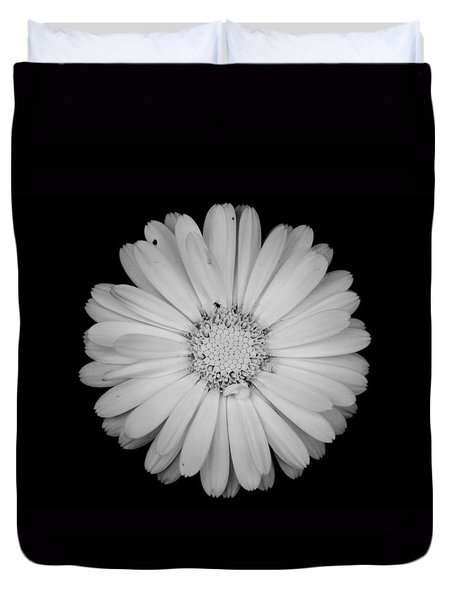 Duvet Cover featuring the photograph Calendula Flower - Black And White by Laura Melis