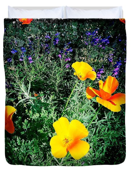 Duvet Cover featuring the photograph California Poppy by Nina Prommer