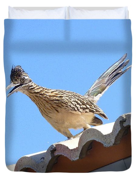 Duvet Cover featuring the photograph California Roadrunner by Carla Parris