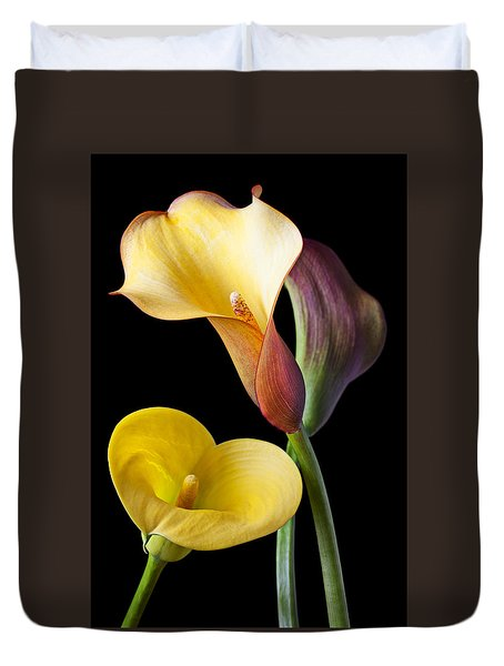 Calla Lilies Still Life Duvet Cover by Garry Gay
