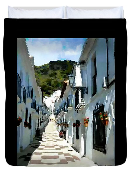 Duvet Cover featuring the painting Calle San Sebastion by Jann Paxton