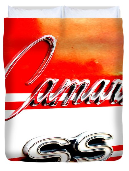 Duvet Cover featuring the digital art Camaro Ss Flank by Tony Cooper