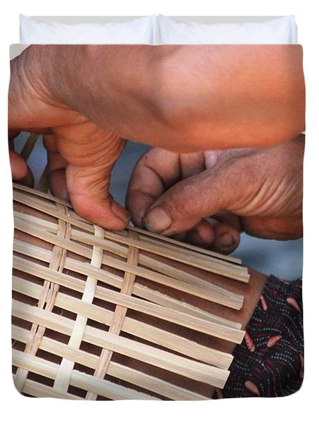 Cambodian Basket Weaver Duvet Cover by Nola Lee Kelsey