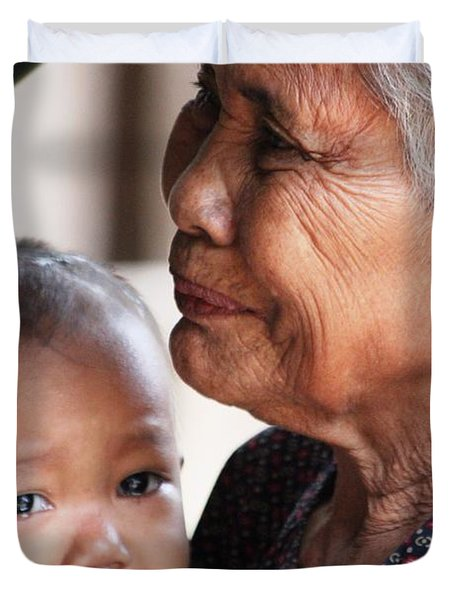 Cambodian Grandmother And Baby #1 Duvet Cover by Nola Lee Kelsey