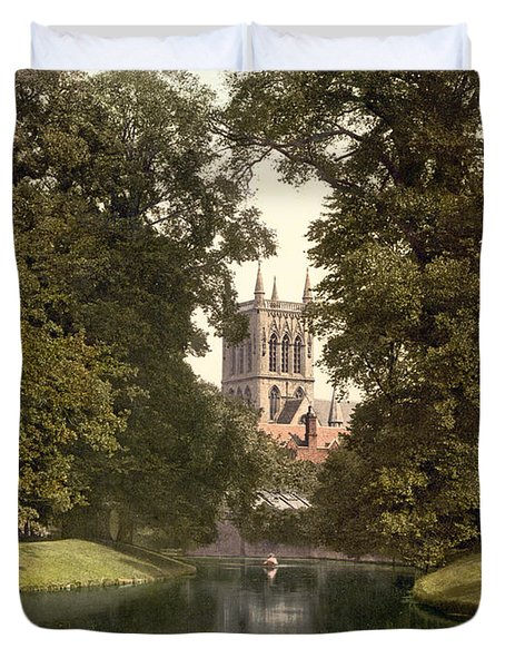 Cambridge - England - St. Johns College Chapel From The River Duvet Cover by International  Images