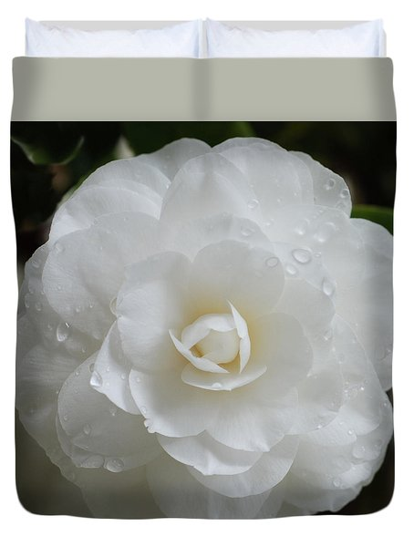 Camellia After Rain Storm Duvet Cover