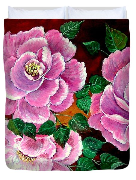 Duvet Cover featuring the painting Camellias by Fram Cama