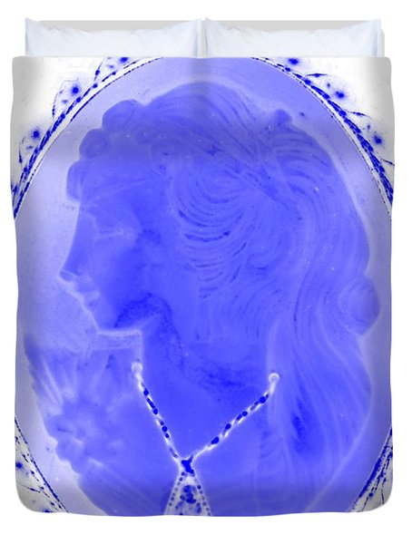 Cameo In Negative Blue Duvet Cover by Rob Hans
