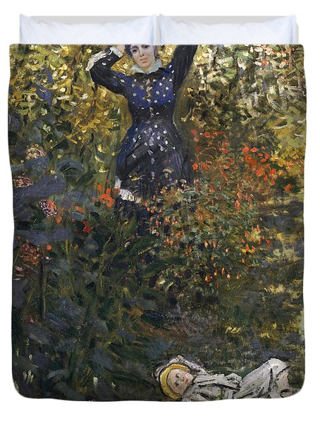 Camille And Jean In The Garden At Argenteuil  Duvet Cover by Claude Monet