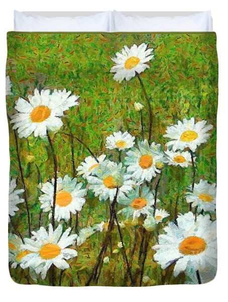 Duvet Cover featuring the painting Camomiles Field by Dragica  Micki Fortuna