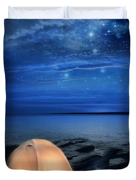 Camping Tent By The Lake At Night Duvet Cover by Jill Battaglia