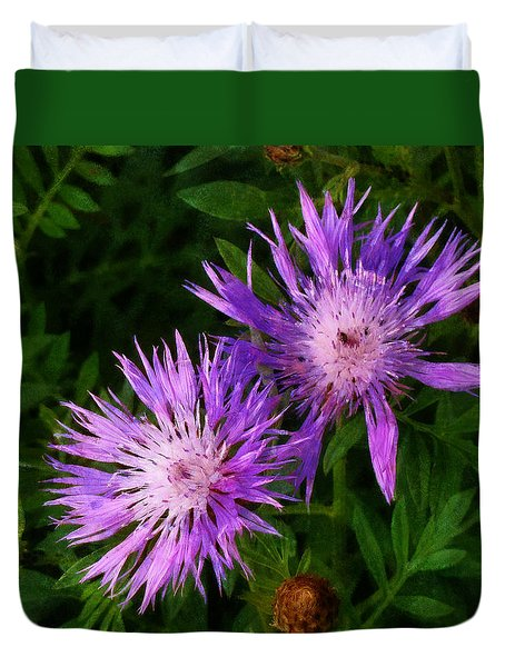 Duvet Cover featuring the photograph Can Flowers Say Boo by Steve Taylor