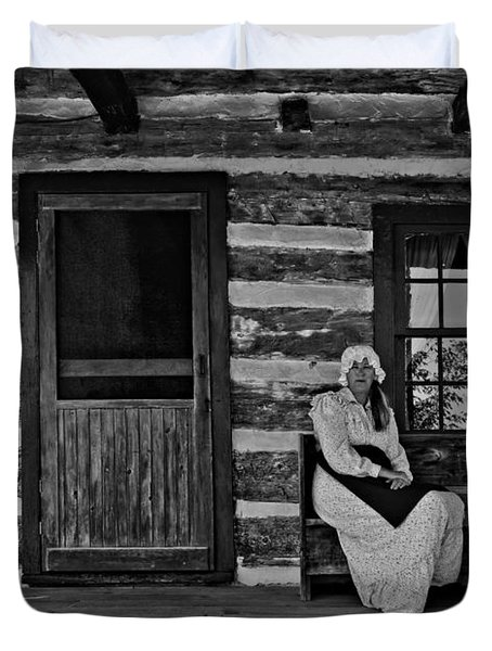 Canadian Gothic Monochrome Duvet Cover by Steve Harrington