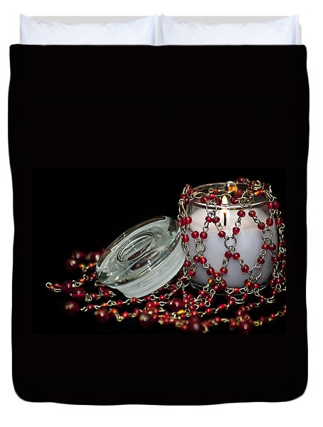 Candle And Beads Duvet Cover by Carolyn Marshall