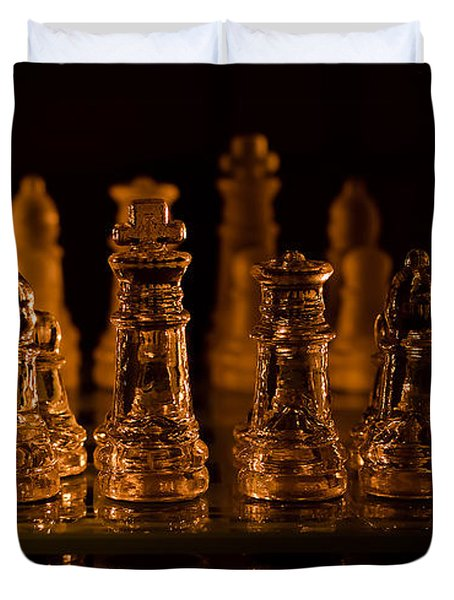 Candle Lit Chess Men Duvet Cover