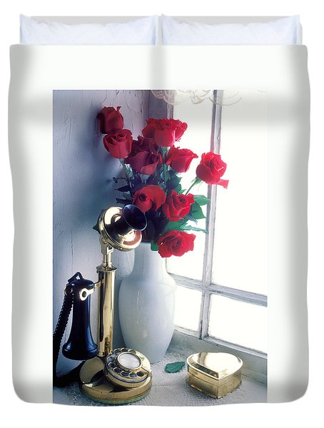 Candlestick Phone In Window Duvet Cover by Garry Gay