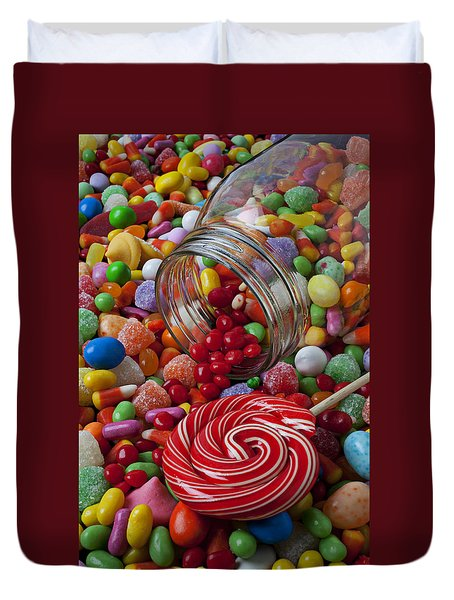 Candy Jar Spilling Candy Duvet Cover by Garry Gay