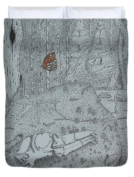 Duvet Cover featuring the drawing Canine Skull And Butterfly by Daniel Reed