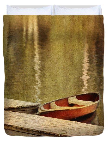 Canoe At Dock Duvet Cover by Jill Battaglia