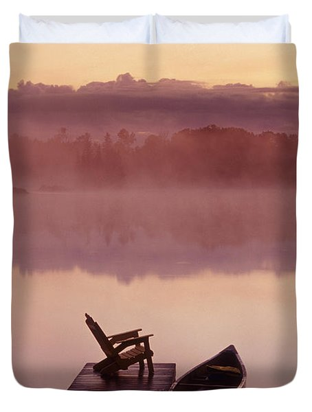 Canoe Dock, Pinawa, Manitoba Duvet Cover by Dave Reede