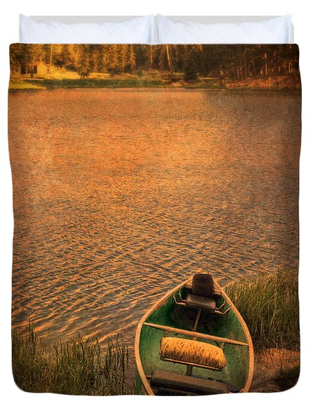 Canoe On Lake Duvet Cover by Jill Battaglia