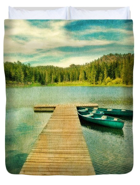 Canoes At The End Of The Dock Duvet Cover by Jill Battaglia