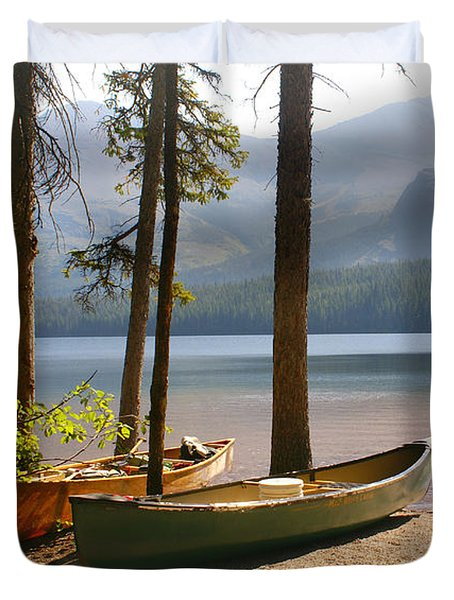 Canoes At The Ready Duvet Cover by Marty Koch