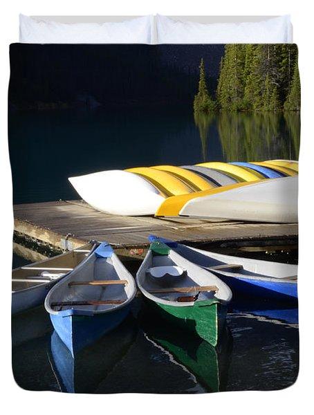 Canoes Morraine Lake 2 Duvet Cover by Bob Christopher