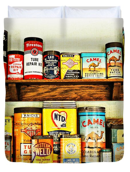 Cans Of Old Duvet Cover by Marty Koch