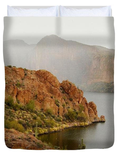Duvet Cover featuring the photograph Canyon Lake by Tam Ryan