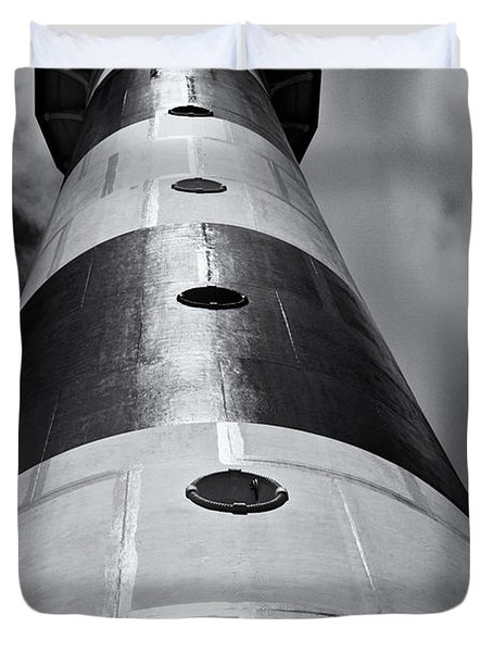 Cape Canaveral Lighthouse Black And White Duvet Cover by Roger Wedegis