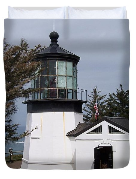 Cape Meares Lighthouse In Oregon Duvet Cover by Peter Mooyman