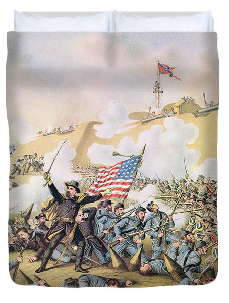 Capture Of Fort Fisher 15th January 1865 Duvet Cover by American School