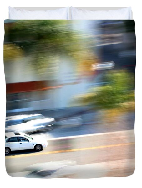Car In Motion Duvet Cover
