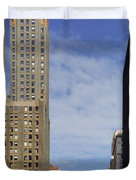 Carbide And Carbon And Wrigley Building - Two Chicago Classics Duvet Cover by Christine Till
