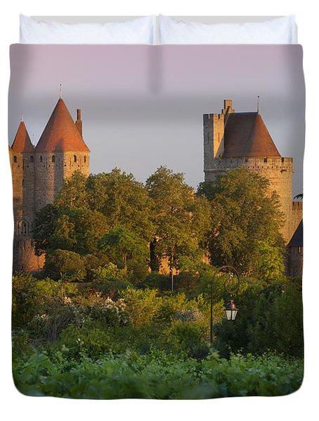 Carcassonne Dawn Duvet Cover by Brian Jannsen